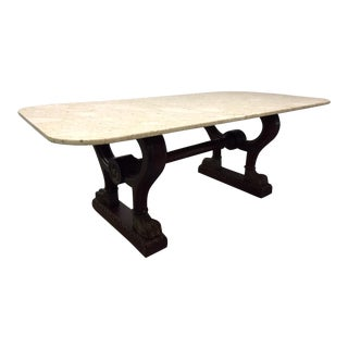 Antique Italian Marble Walnut Center Table For Sale