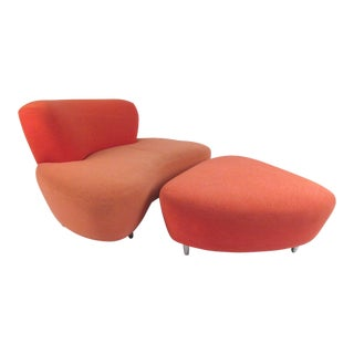 Stylish Modern Lounge Chair With Ottoman For Sale