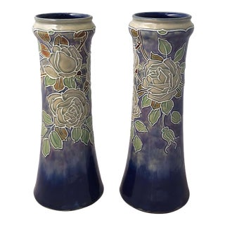 Arts & Crafts Period Vases by Royal Doulton, 'Priced as a Pair' For Sale