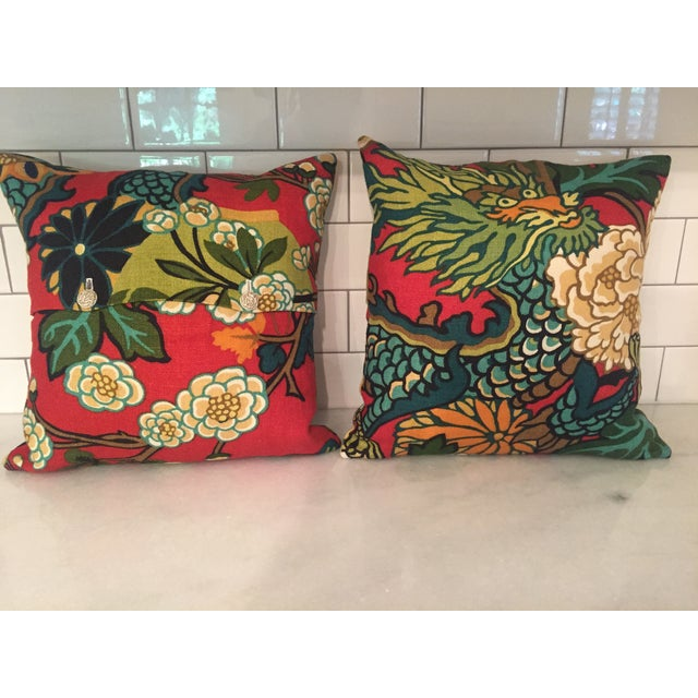 Schumacher Chiang Mai Dragon in Red Pillows - Pair For Sale - Image 7 of 11