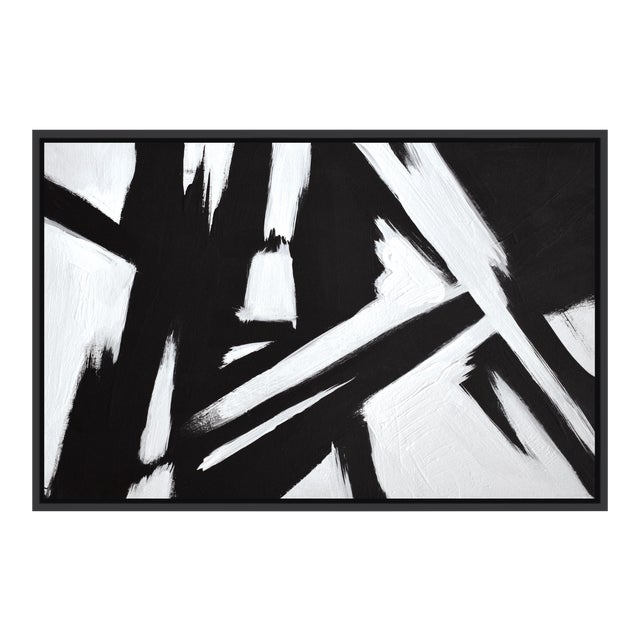 Abstract Black & White Slash - Frame Print 32x48 For Sale
