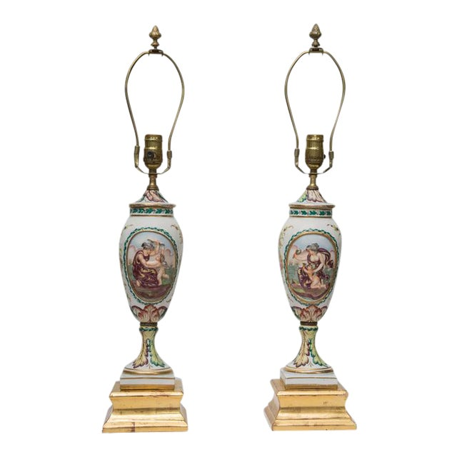 19th Century Pair of Italian Porcelain Capodimonte Vases as Table Lamps For Sale