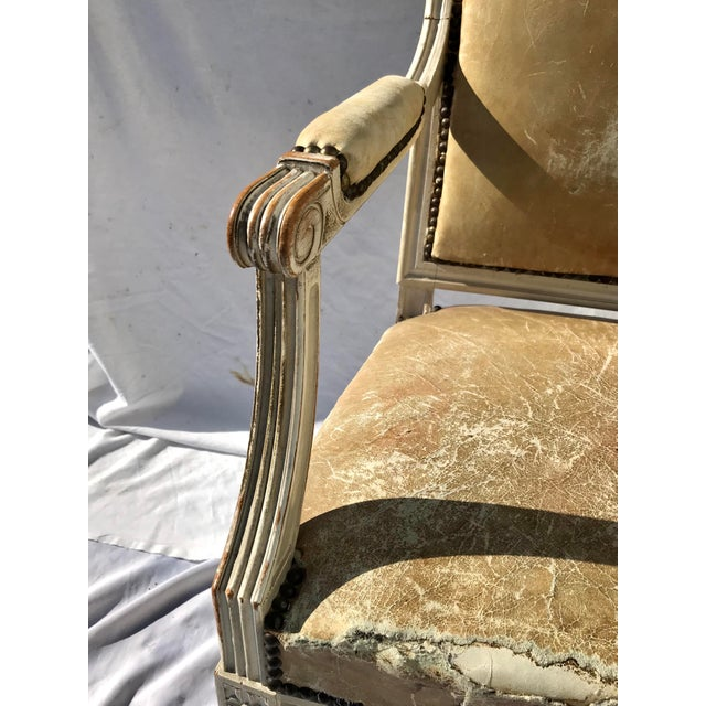 Animal Skin Painted French Louis XVI Desk Chair in Old Leather For Sale - Image 7 of 13