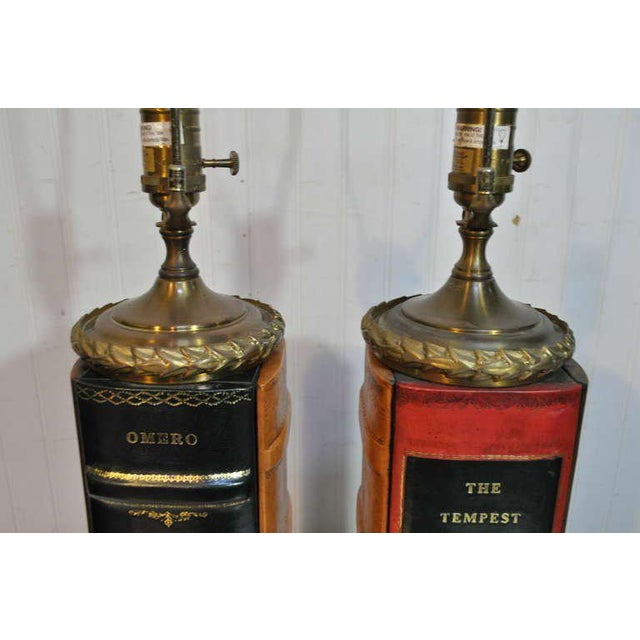 Metal Vintage English Style Brass and Tooled Leather Bound Book Form Table Lamps - a Pair For Sale - Image 7 of 11