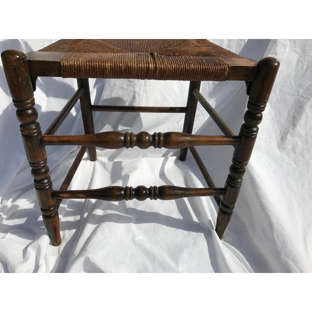 Antique Ladder Back Rush Seat Chair For Sale - Image 5 of 9
