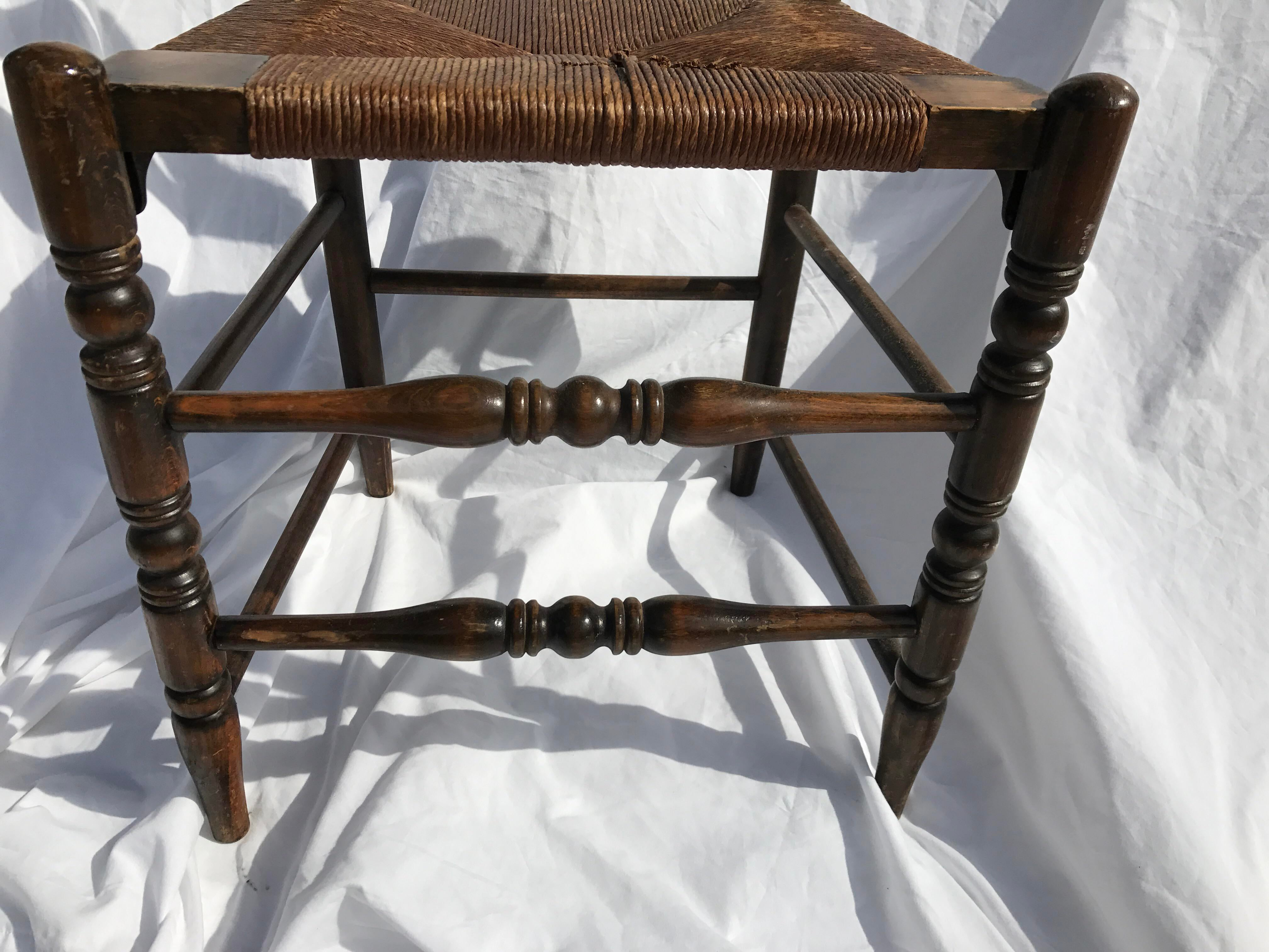 Antique Ladder Back Rush Seat Chair   Image 5 Of 9