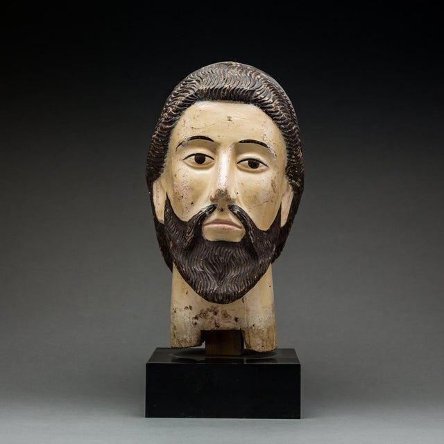 Mid 18th Century Wooden Head of a Saint For Sale - Image 5 of 5