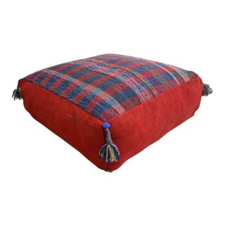 Turkish Hand Woven Kilim Sitting Cushion Floor Pillow Rugrag -32ʺ X 32ʺ For Sale