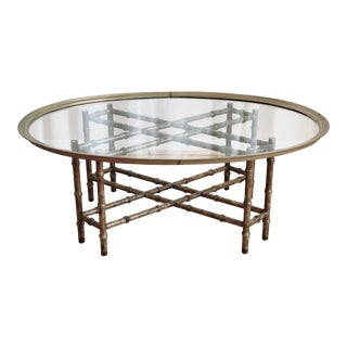 Baker Style Faux Bamboo Glass Top Oval Coffee Table For Sale
