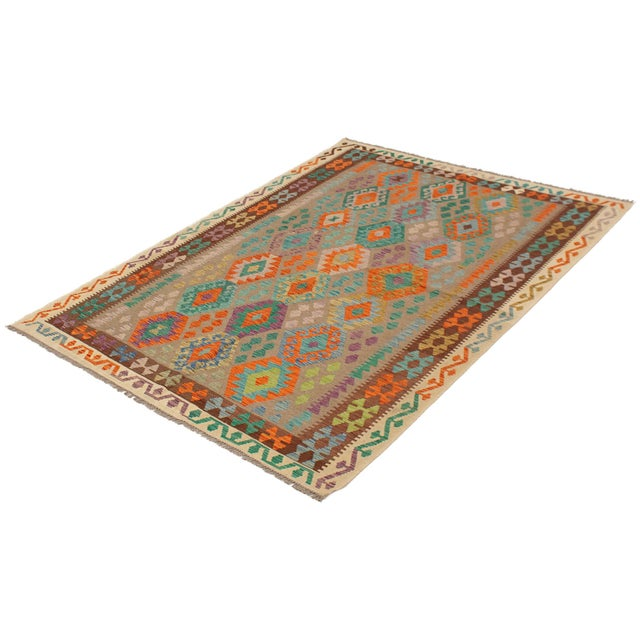 Up for sale is a Turkish Sivas flatweave rug. Handmade rugs are perfectly imperfect. This rug is clean and ready to use.