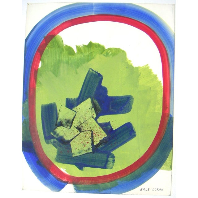 Abstract painting from the late '60s when Erle Loran was experimenting with non-objective designs. Gouache on paper. Image...