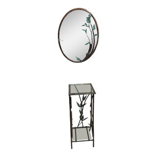 Andy Brinkley Studio Bamboo Motif Copper Table and Mirror