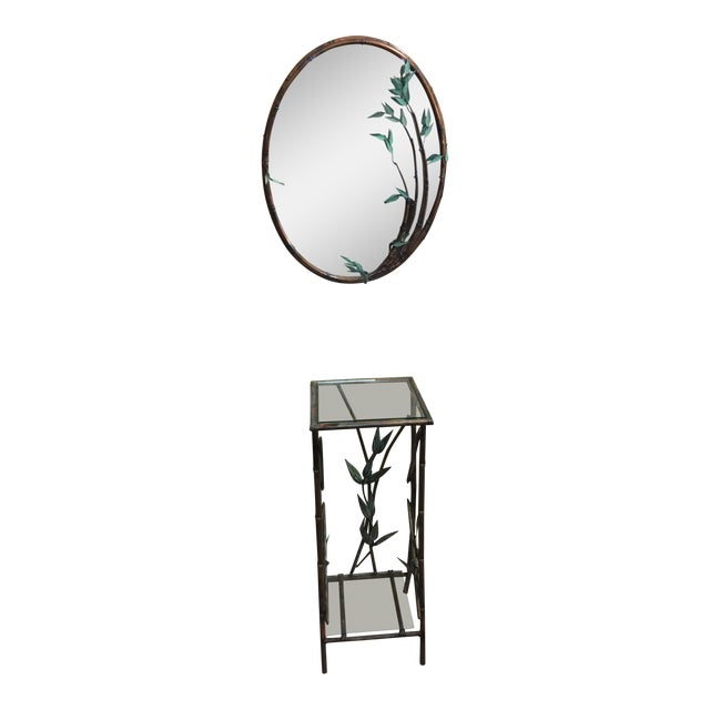 Andy Brinkley Studio Bamboo Motif Copper Table and Mirror For Sale
