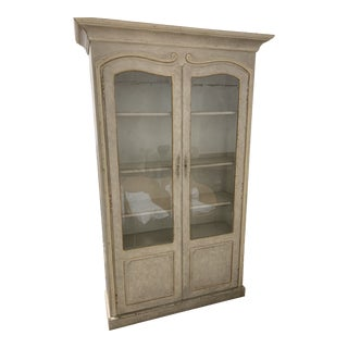 Monarch for Century Distressed Grey and Gold Tall Display or China Cabinet For Sale