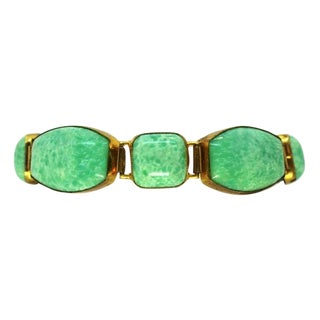 Circa 1930s Green Czechoslovakian Glass Bracelet For Sale