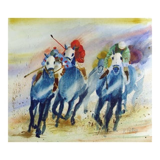 Horse Race in Blue Watercolor Painting For Sale