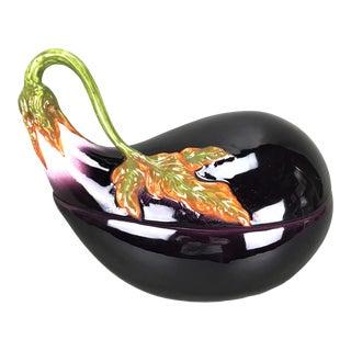 Vintage Italian Faience Eggplant Soup Tureen & Ladle For Sale