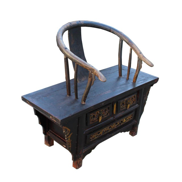Vintage Rustic Oriental Horse Shoe Curve Back Accent Bench Chair For Sale - Image 4 of 7