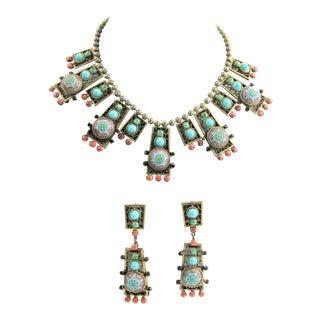 D&e Delizza & Elster Juliana Moroccan Matrix Necklace & Earrings Set For Sale