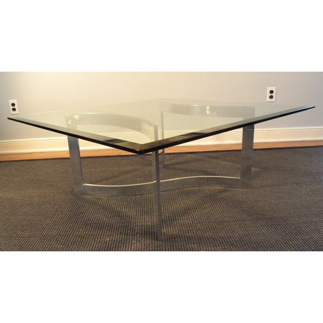 Milo Baughman Style Glass and Chrome Table - Image 8 of 9