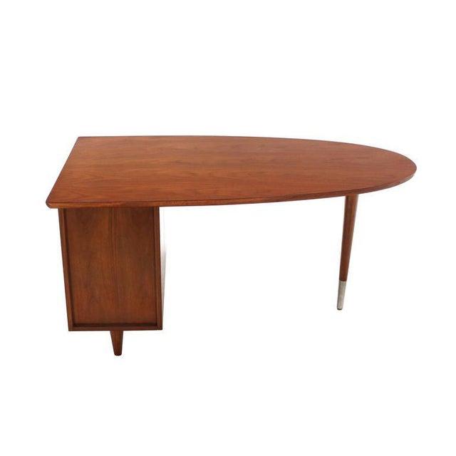 Brown Unusual Oval Shape Walnut Partners Extra Deep Desk Long Metal Stip Shape Pulls For Sale - Image 8 of 9