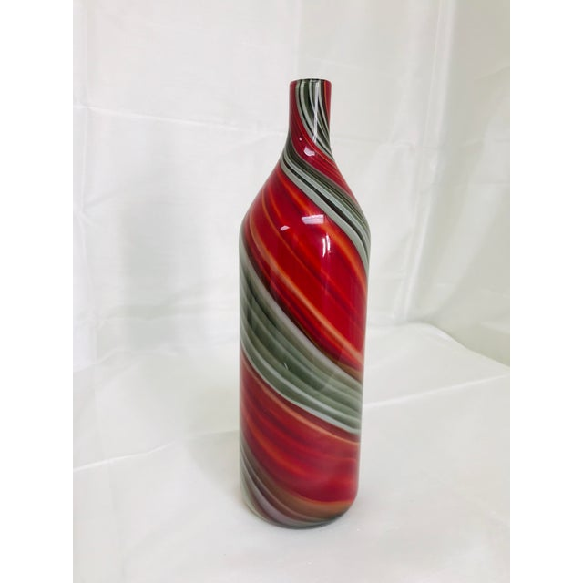 Glass Contemporary Art Glass Red & Grey Swirl Bottle Vase For Sale - Image 7 of 7