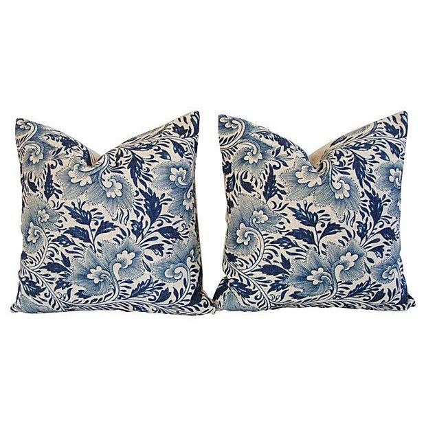 Custom Indigo Blue Floral Linen Pillows - Pair - Image 7 of 7
