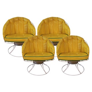 Vintage Mid Century Modern 1960s Homecrest Swivel Barrel Lounge Chairs - Set of 4
