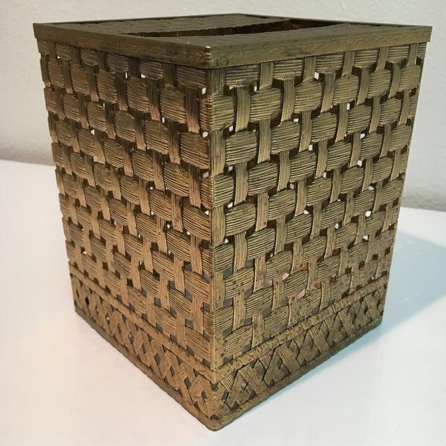 Vintage Brass Weave Tissue Box Holder For Sale - Image 5 of 6