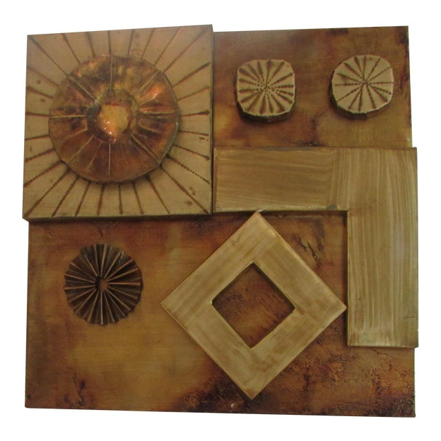 Brutalist Brass Wall Sculpture For Sale