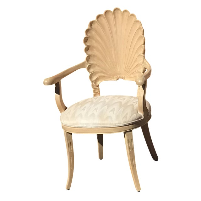 Grotto Italian Carved Wood Seashell Shell Back Dining Chair For Sale