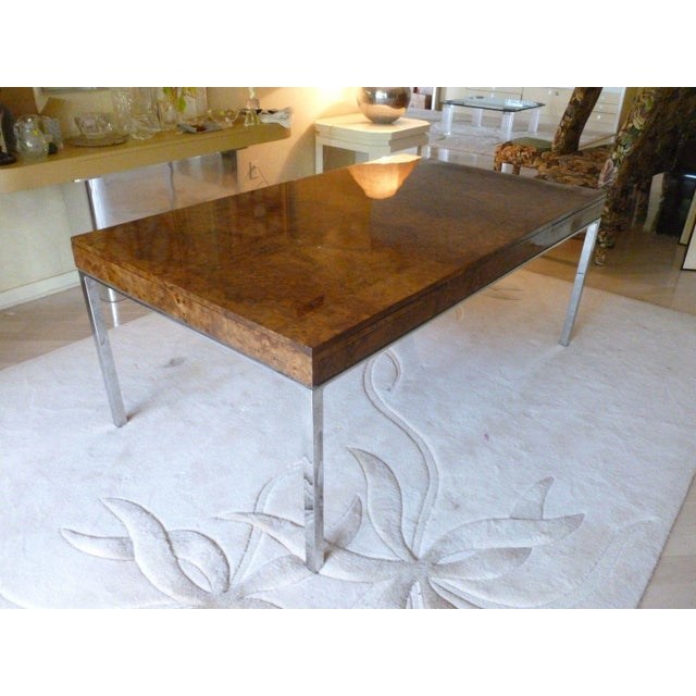 Pace 1970's Vintage Milo Baughman Style Burl-wood & Chrome Dining Table For Sale - Image 4 of 13