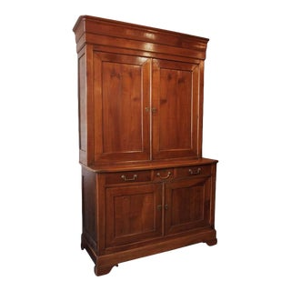 Antique French Fruitwood Buffet-A-Deux-Corps, Louis Philippe