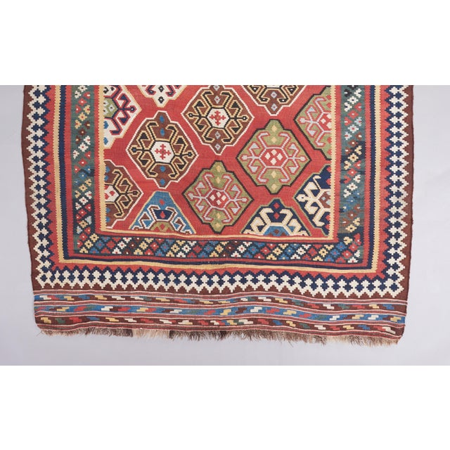 Abstract Late 19th Century Persian Qasqhai Kilim Rug - 5′4″ × 9′11″ For Sale - Image 3 of 4