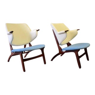 Pair of Mid Century Modern Teak Penguin Chairs For Sale