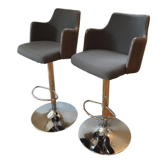 Leather Bar Stools - Pair - Image 1 of 3