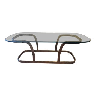Milo Baughman Mid-Century Modern Gold Chrome and Coffee Table For Sale