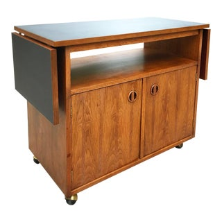 Danish Modern Walnut Rolling Bar Cart With Inlaid Rosewood For Sale
