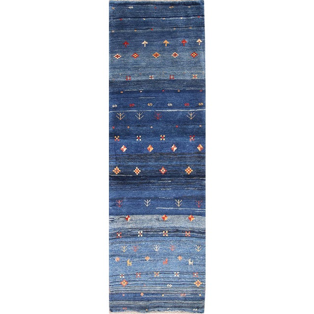 Blue Persian Gabbeh Rug - 2′11″ × 9′7″ For Sale