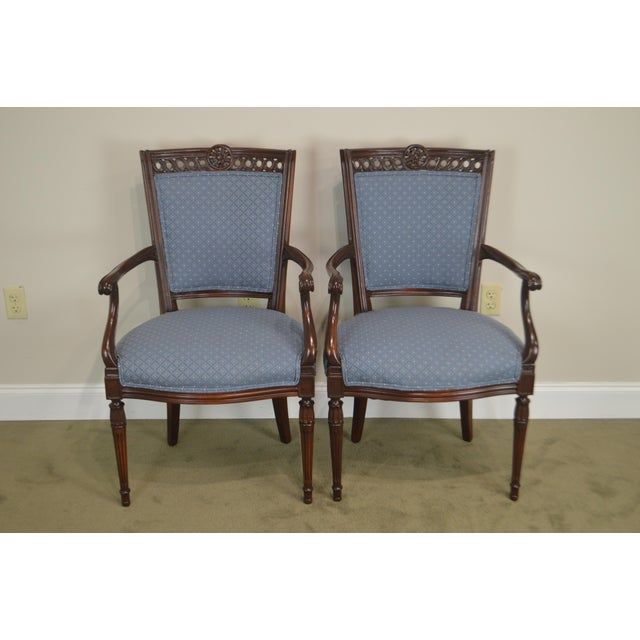 Regency Style Vintage Pair of Carved Mahogany Blue Upholstered Arm Chairs For Sale - Image 9 of 13