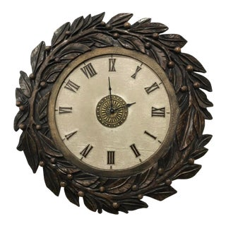 Faux Carved Wall Clock With Roman Numerals For Sale