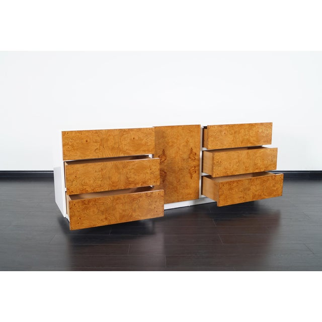 Danish Modern Vintage Burl Wood Dresser by Lane For Sale - Image 3 of 9