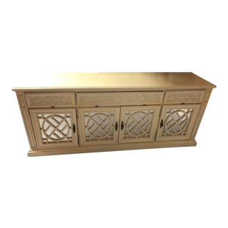 Vintage Fretwork Chinese Chippendale Sideboard Credenza Cabinet