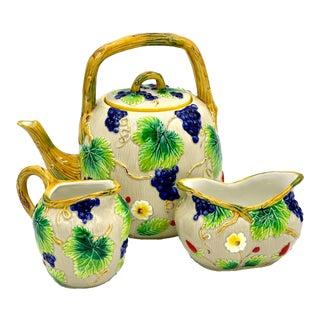 Vintage Late 20th Century Italian Hand-Painted Ceramic Three Piece Beige Tea Set - 3 Pieces For Sale