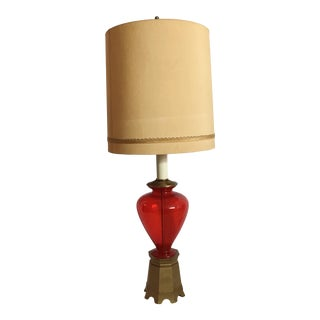 1960s Mid Century Modern Tall Glass Table Lamp For Sale
