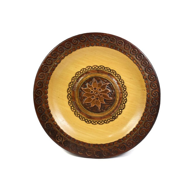 Vintage Hand Carved Wooden Plate with Inlaid Brass and Copper For Sale - Image 6 of 6