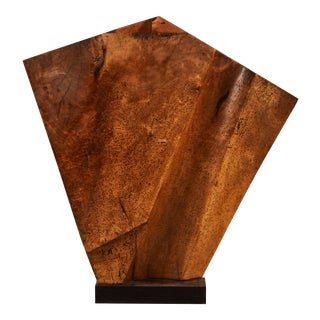 Striking Wood Sculpture Mounted on a Metal Base For Sale