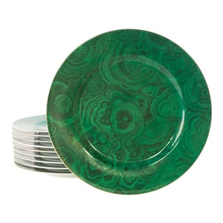 Neiman Marcus Vintage Malachite Dinner Plates - Set of 8 For Sale