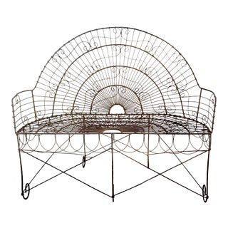 Late 19th Century French Wire Iron Garden Bench For Sale