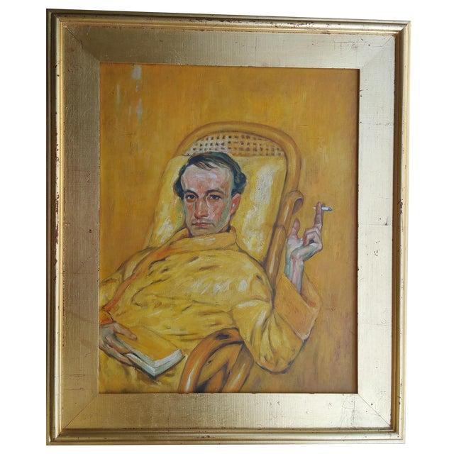 Vintage Smoking Man Oil Painting - Image 1 of 5